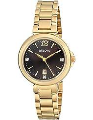 Bulova Womens 97P107 Diamond Gallery Analog Display Japanese Quartz Yellow Watch
