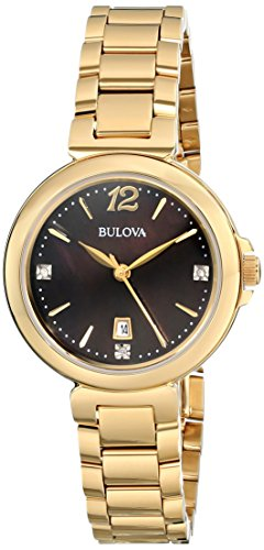 (Bulova Women's 97P107 Diamond Gallery Analog Display Japanese Quartz Yellow Watch)