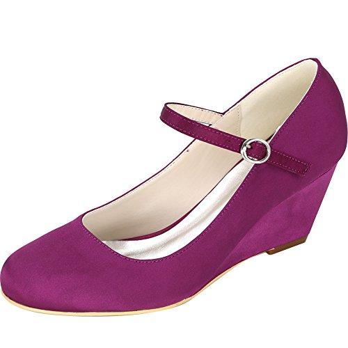 Loslandifen Mujeres Cuñas Cerradas Zapatos De Tacón Rhinestone Satén Vestido De Novia Zapatos Púrpura
