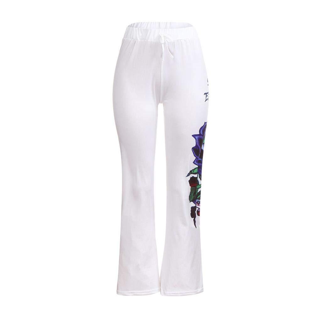 Molyveva Women Halloween Casual Pants Printed Flowy Wide Leg High Elastic Waist