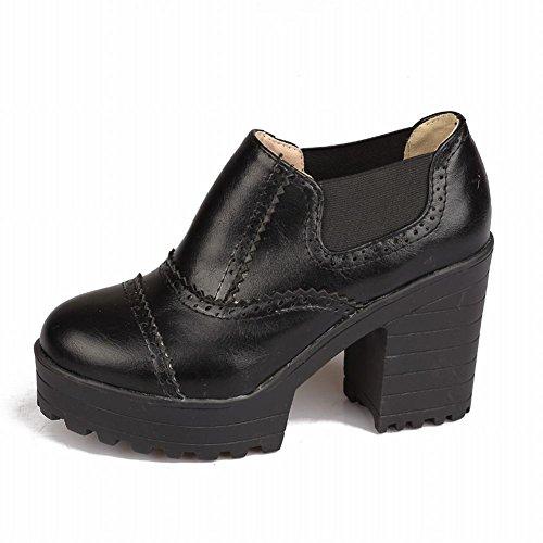 Charm Foot Womens Western Slip On Chunky High Heel Platform Ankle Boots Black nZIJPt