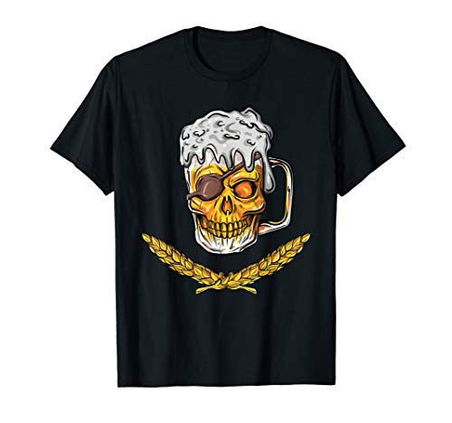 Pirate Skull Beer Mug Malt Men Women Drinking Gift T-Shirt ()