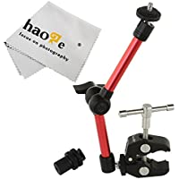 Haoge 11 inch Articulating Friction Magic Arm with Large Clamp Crab Pliers Clip for HDMI LCD Monitor LED Light DSLR Camera Video Tripod Red