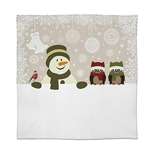 - YOLIYANA Fine Flannel Blanket,Christmas,for Home Travel Camping,Size Throw/Twin/Queen/King,Snowman and Owls in Snowy Winter Day