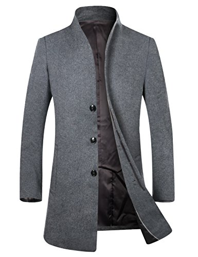 APTRO Men's Wool French Front Slim Fit Long Business Coat 1681 Grey US M