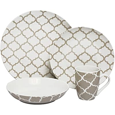Click for Melange 32 Piece Grey Harmony Coupe Porcelain Place Setting Serving for 8 Dinnerware, White