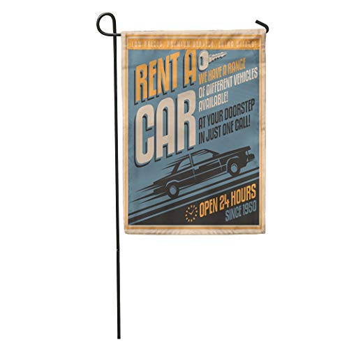 (Semtomn Garden Flag Auto Old Fashioned Comics Rent Car Vintage on Automotive Service Home Yard Decor Barnner Outdoor Stand 28x40 Inches Flag)