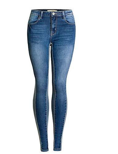 YFLTZ Pantalon Jeans Femme - Taille Haute Couleur Unie/Sortir Blue
