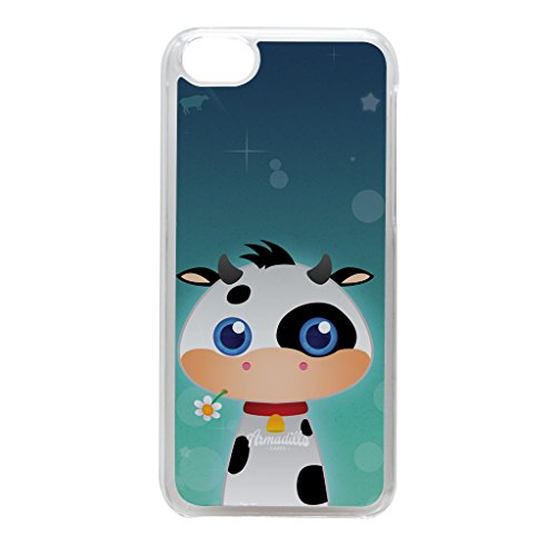 Cute Farmyard Cow Crystal Clear Hard Plastic Case for iPhone 5C by DevilleArt + FREE Crystal Clear Screen Protector