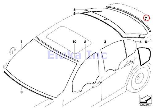 BMW Genuine Glazing Windshield Moulding Rear Lower 323i 325i 325xi 328i 328xi 330i 330xi 335i 335xi M3 323i 328i 328xi 335d 335i 335xi M3