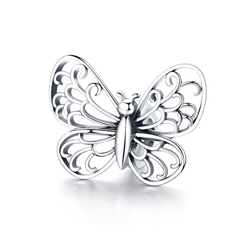 BAMOER Butterfly Sterling Silver Charm Nature Animal Butterfly Bead Charm for European Bracelet Necklace Gift