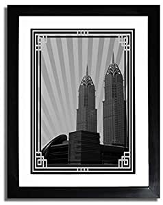 Al Kazim Towers Metro - Black And White With Silver Border No Text F07-nm (a4) - Framed