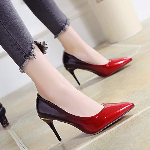 Tacones Nueva Degradado tacón Mujer Metal de de Zapatos Stiletto Profunda Zapatos Acentuado Poco Color de Altos Jqdyl Alto Boca Axtf6