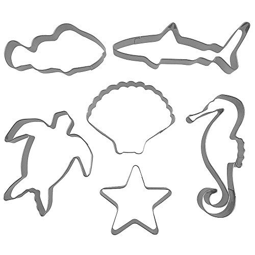 Cutter Shapes Set For Stainless Steel Shark Starfish Turtle Fish Seahorse Seashell Shaped Cookie Molds, 6 Counts by GOCROWN (Shaped Cookie Cutter)