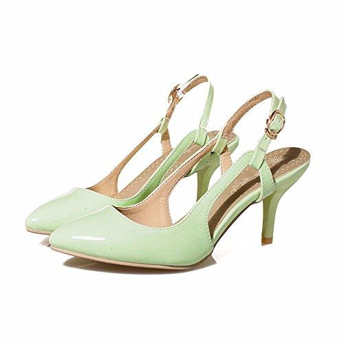 RFF-Women's Shoes Damen Pumps/Geschlossene Ballerinas/Riemchenpumps/Wies Stilettos Hohlen Leder Sandalen Schuhe mit Hohen Absätzen green
