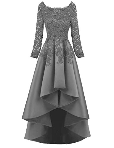 4eb8841d9a62 Scarisee Women's 2019 Long Sleeves High Low Prom Evening Dresses Beaded  Lace Bridesmaid Cocktail Party Gowns 2019 Gray 22 Plus