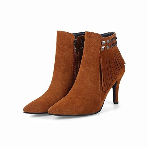 Charm Foot Womens Chic Nappe Scarpe Basse A Punta Tacco Alto Giallo
