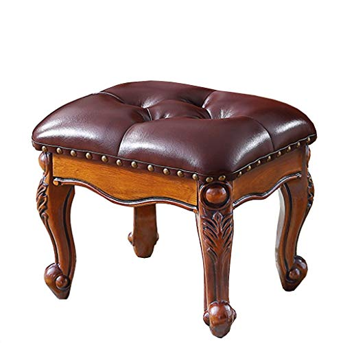 AO-stools American Stool, Coffee Table Stool, Living Room Sofa Solid Wood Shoe Stool Luxury Upholstered Leather,Queen Anne Legs 36.5×30×30cm (Color : Brown)
