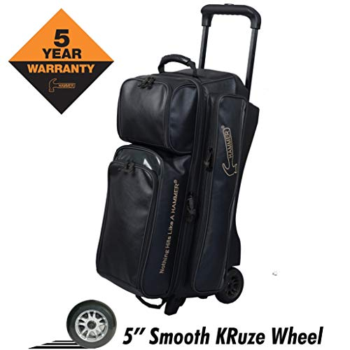 Hammer Premium Triple Roller Bowling Bag, Black/Orange (Hammer Ball Bowling Bag)
