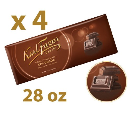 4 Bars of Karl Fazer Dark Chocolate, Cocoa 47% Finland