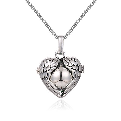 Wing Heart Mexican Bola Harmony Chime Ball Angel Caller Pregnancy Locket Pendant Necklace Women Presents 30