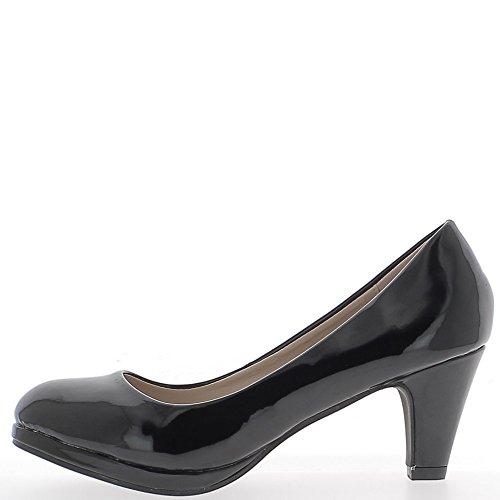 Escarpins classiques noirs vernis à petits talons de 6,5cm petite plateforme