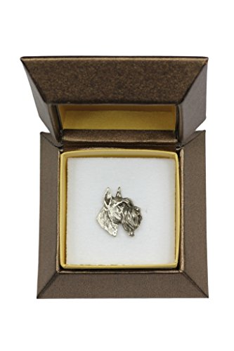 (Schnauzer Cropped Head, Dog pin, Badge, Brooch, in Box, Casket, Limited Edition, ArtDog)