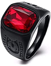 Men's Ring Black with Red Zircon Stone Size 8