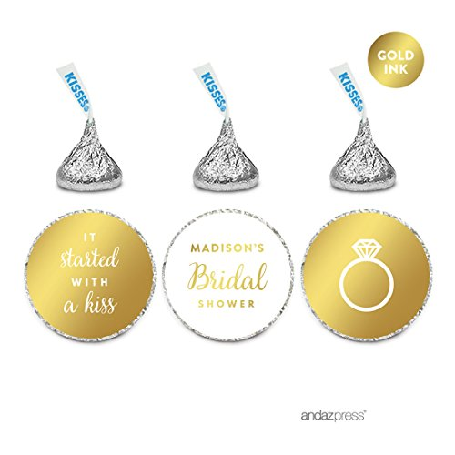 Andaz Press Personalized Chocolate Drop Labels Trio, Metallic Gold Ink, Wedding Bridal Shower, 216-Pack, Fits Hershey's Kisses, Custom Made Any Name, Not Gold Foil, Stationery, Invitations, Decor (Personalized Bridal Chocolate Shower Bar)