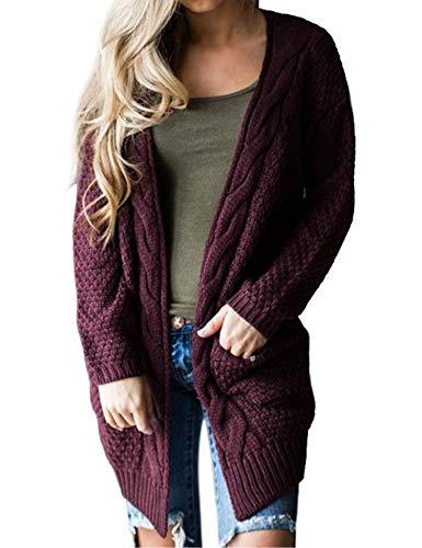 (ZHENWEI Womens Open Front Sweater Oversized Warm Knit Cardigan Sweater Coat Cozy Dark Red )