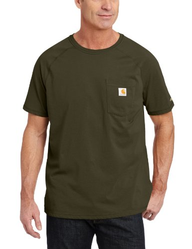 Carhartt Men's Big Force Cotton Delmont Short Sleeve T-Shirt (Regular and Big & Tall Sizes), Moss, 3X-Large Tall