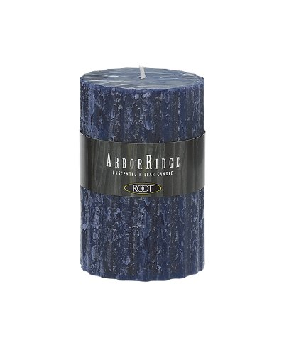 (Root Unscented ArborRidge Pillar Candle, 3-Inch by 4-1/2-Inch, Abyss Blue)