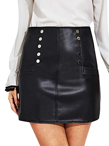- SheIn Women's Faux Leather O-Ring Zipper Front Bodycon Mini Skirt with Pockets Small Button Black