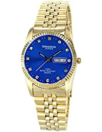 Swanson Mens Gold Day-Date Watch Stone Blue Dial