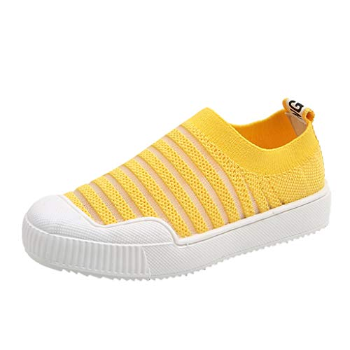 Baby Boys Girls Mesh Sneaker Outdoor Casual Slip On Running Trainer Lightweight Soft Sole Sports Shoes for Children Yellow