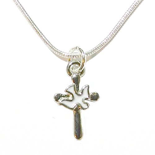 Charmed By Dragons Inspirational Cross Necklace with Dove Spirit Silver Chain in Gift Box (16 inch)
