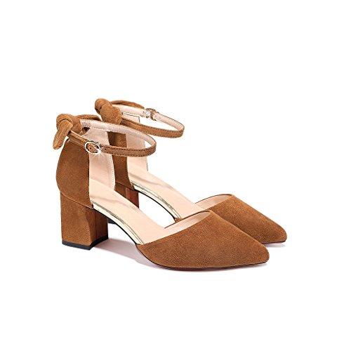 YUBIN Sandalias De Tianlun Nueva Moda Europea Y Americana Salvaje Señaló Grueso con Una Palabra Hebilla Baotou Zapatos De Mujer Plataforma Impermeable Zapatos De Mujer (Color : Brown, Tamaño : 37)