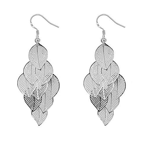 (Fashion Women Girls Earrings, Noopvan Fashion Simple Creative Hollow Multi-layered Leaf Shape Ear Clip Earring For Women's Girl's Jewelry Accessories (Silver))