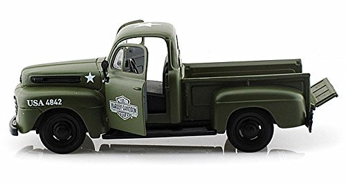 Maisto 1948 Ford F-1 Pickup Truck Harley Davidson Flat Army Green with 1942 Harley Davidson WLA Flathead Motorcycle 1/25 Scale Diecast Car