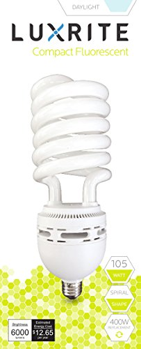 70w Cfl (Luxrite LR20228 (4-Pack) 105-Watt High Wattage CFL Spiral Light Bulb, Equivalent To 400W Incandescent, Daylight 6500K, 6000 Lumens, E26 Standard)