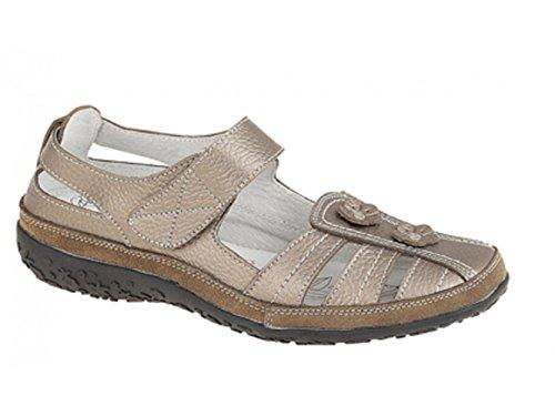 Boulevard RHEA Ladies Womens Leather Flower Velcro Sandals White Bronze leather l9nN30