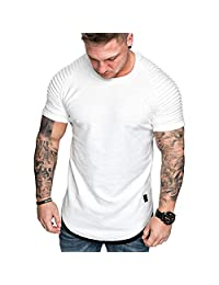 KASAAS T-Shirts for Men Pleated Shoulder Solid Polo Henley Shirts O-Neck Short Sleeve Fashion Casual Slim Tees Tops