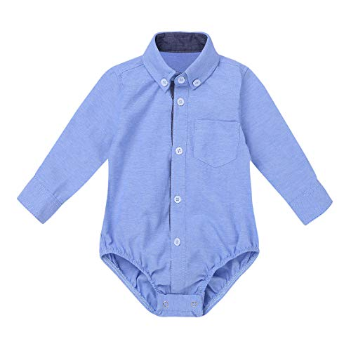 Agoky Infant Baby Boys Long Sleeves Summer Spring Autumen Plaid Shirt Romper Jumpsuit Light Blue 3 Months
