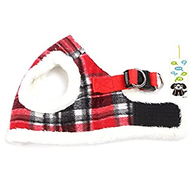 SCT Dog Winter Woolen Plush Grid Vest Leash Set