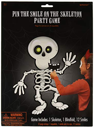 Amscan | Party Favour | Pin-The-Smile-On-The-Skeleton Halloween Game | Package of (1) Paper Skeleton Game Board measures 21 3/4