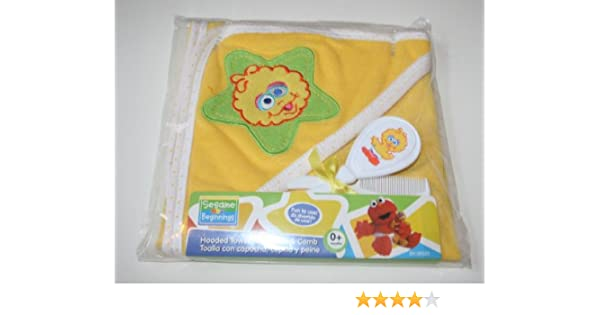 Amazon.com : Sesame Street Hooded Towel With Brush & Comb Set - Yellow(BIG BIRD) : Hooded Baby Bath Towels : Baby