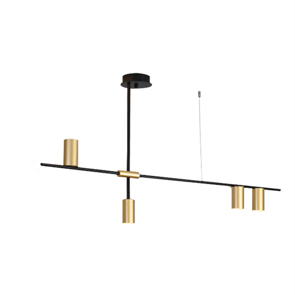 BOKT Contemporary Minimalist 4-Light Kitchen Island Pendant, Matte Black with Antique Brass Lampshade Finish, Geometric Modern Linear Chandelier Lighting Fixture with Led Bulbs