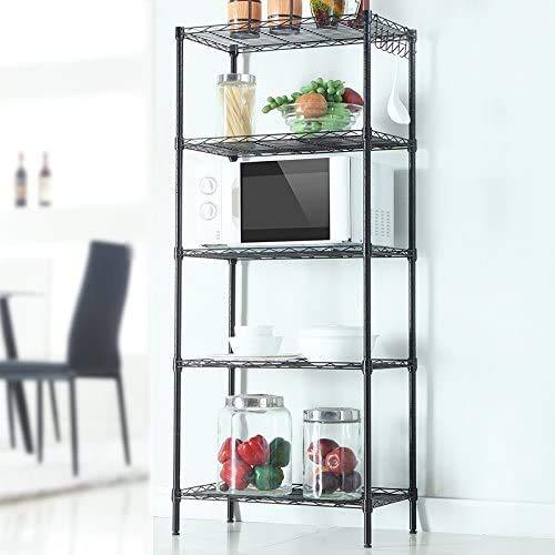 "KTN 5-Tier Wire Shelf, Unit Steel Garage Shelves with Side Hooks, Metal Organizer Wire Racks for Kitchen Home Office Garage, 21.25"" L x 11.42"" W x 59.06"" H"
