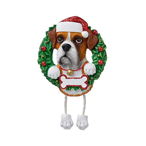 - Personalized Boxer Pure Breed Christmas Tree Ornament 2019 - Dog Dangle Paw Santa Hat Love Play High-Energy Large Muscular Square-Headed Guard Fur-Ever New Loyal R.i.p. Smart - Free Customization