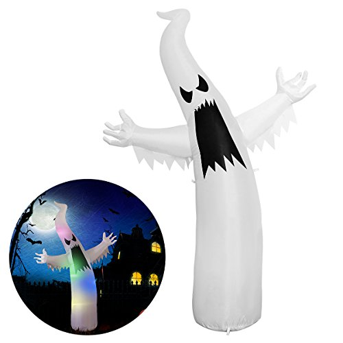YUNLIGHTS Halloween Inflatable Decorations for Halloween 6 Ft Ghost with 8 Multicolor (Halloween Inflatables)